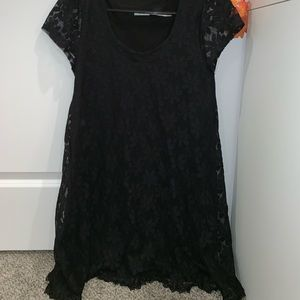 black flowered lace dress